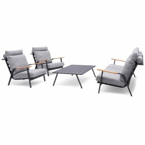 Kungshult soffgrupp med bord i aluminium.
