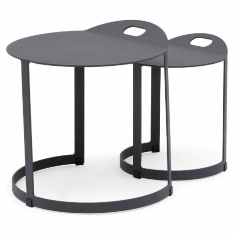Bild på Videnäs soffbord i mörkgrå aluminium.