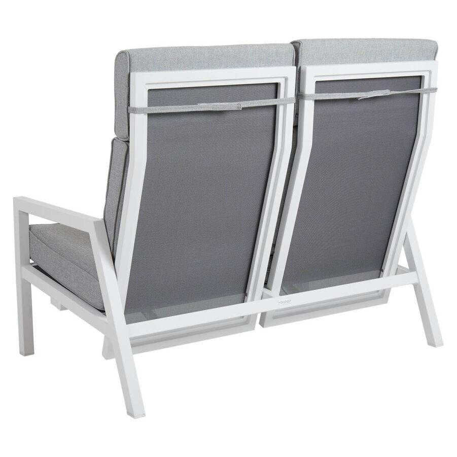 Brafab Belfort 2-sits soffa ställbar hög rygg vit/pärlgrå