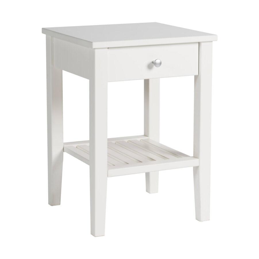 Nova sängbord i vitmålad MDF.