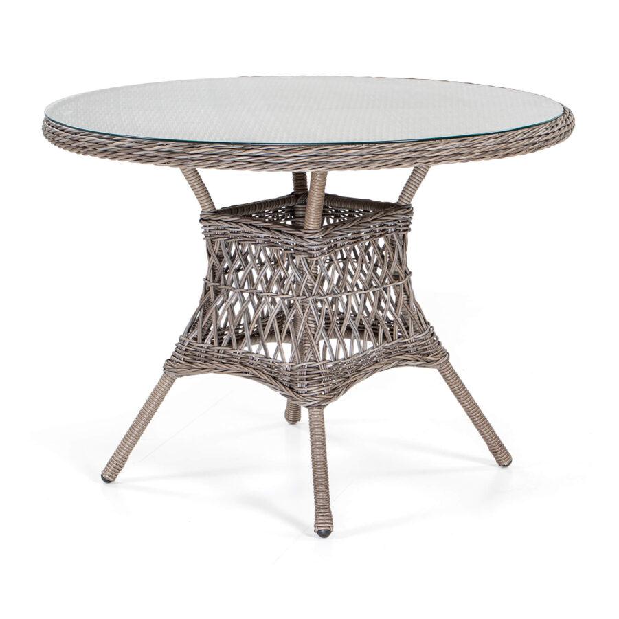Marienlyst matbord 100 cm i drivvedsfärgad konstrotting.