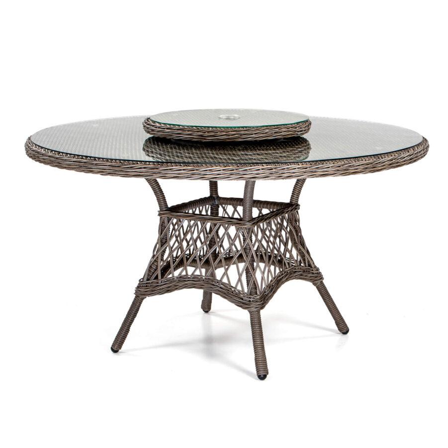 Windsor matbord Ø135 cm i drivvedsfärgad konstrotting med snurrskiva.