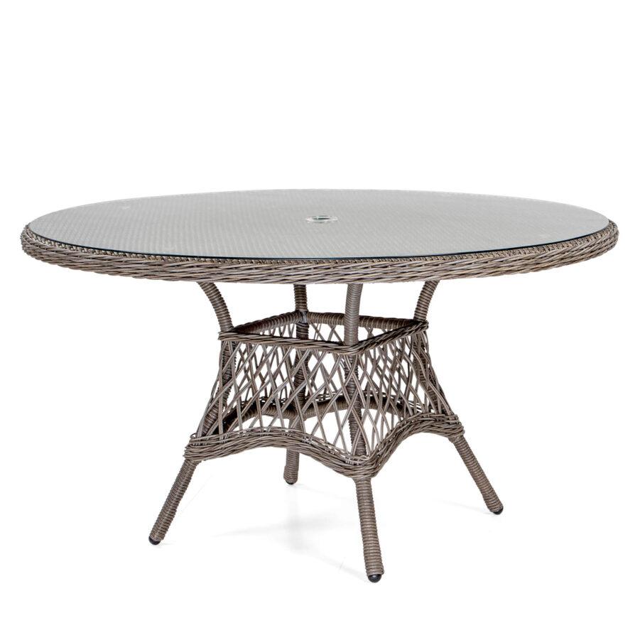 Windsor matbord Ø135 cm i drivvedsfärgad konstrotting.