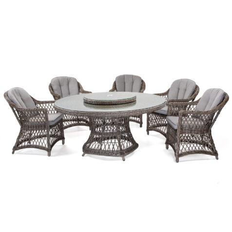 Marienlyst karmstol med Hastings matbord i drivvedsfärgad konstrotting.