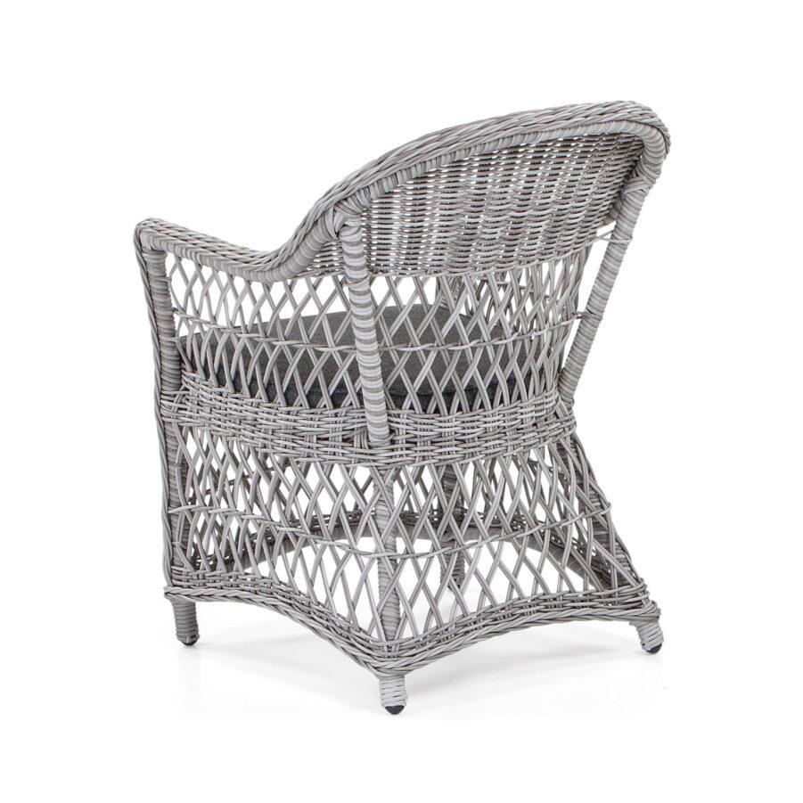 Marienlyst karmstol i pärlgrå konstrotting med mörkgrå sittdyna.