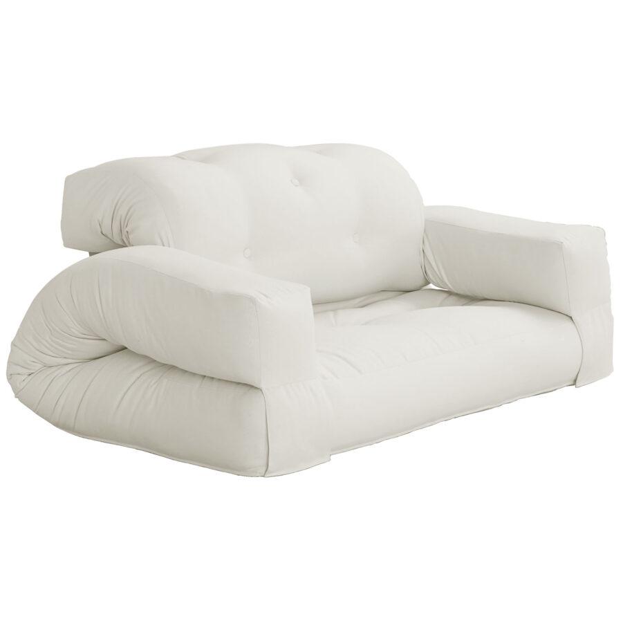 Hippo futon-bäddsoffa i vitt.