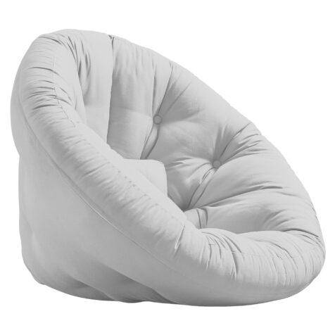 Frilagd bild på Nido futon-fåtölj i ljusgrått.