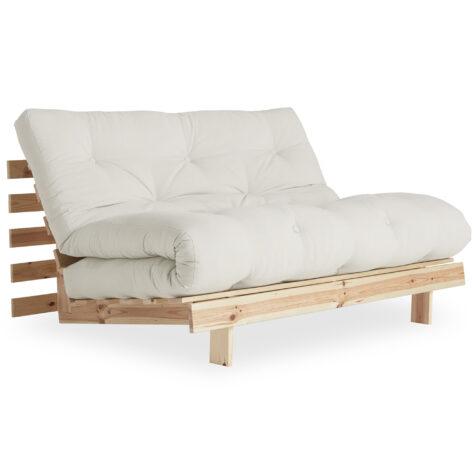 Roots 140 cm i obehandlad furu med futon-madrass i vitt.