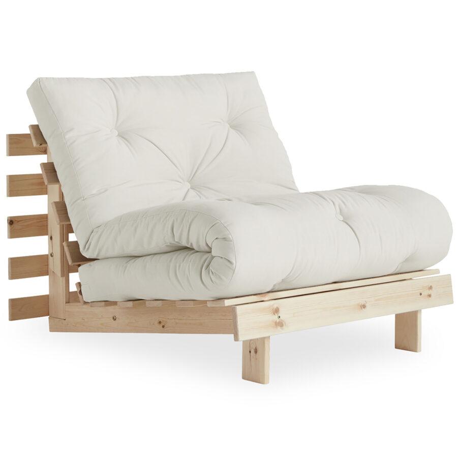 Roots bäddfåtölj i obehandlad furu med futon i vitt.