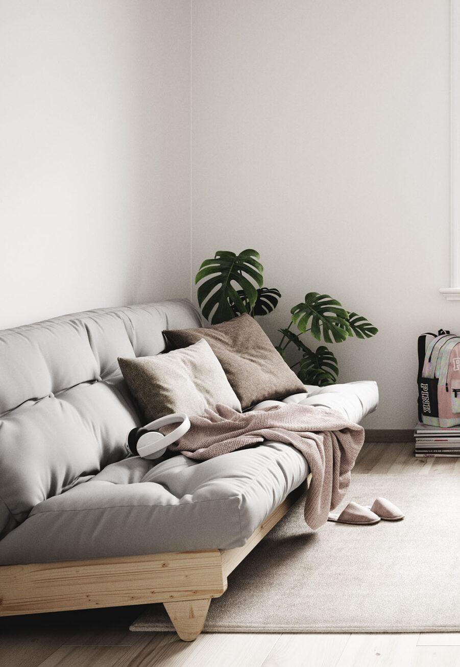 Miljöbild på Frresh bäddsoffa med ljusgrå madrass.