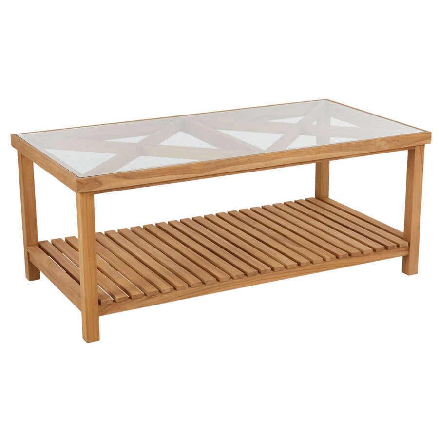 Brafab Varm soffbord 135x70 cm teak/glas