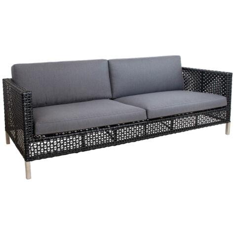 Connect soffa i svart med gråa dynor.