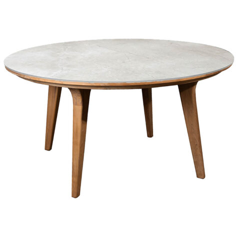 Aspect bord i teak med grå bordsskiva i keramik.