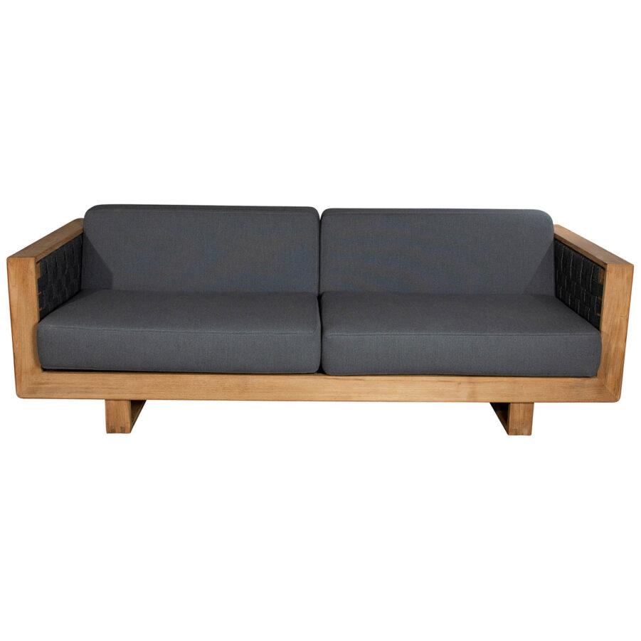 Angle soffa i teak och Cane-Line Soft Rope.