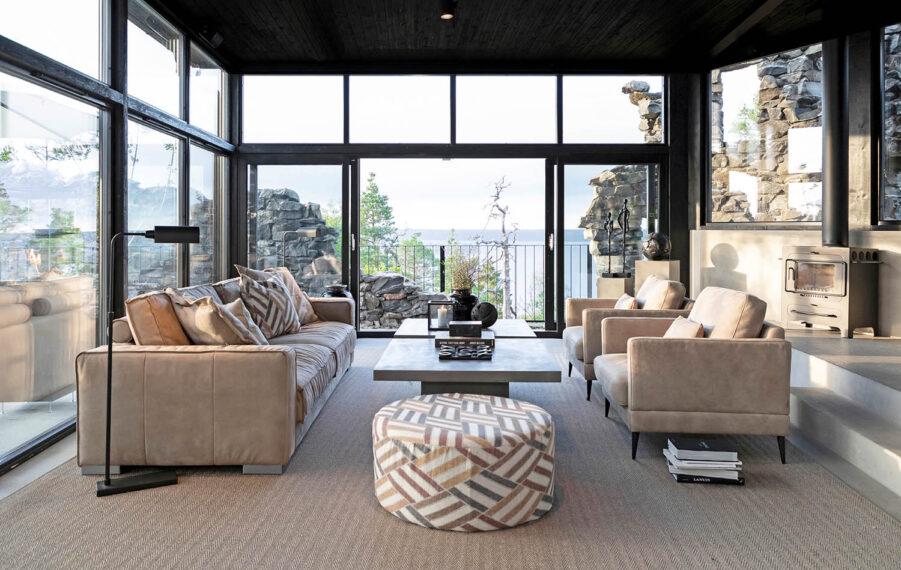 Artwood Andorra fåtölj nubuck taupe leather och Montana soffa