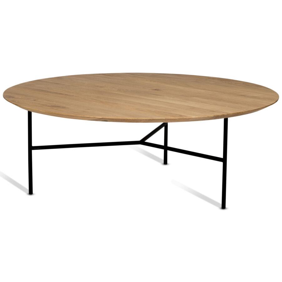 Tribeca soffbord med bordsskiva i lackad ek och stativ i svart.