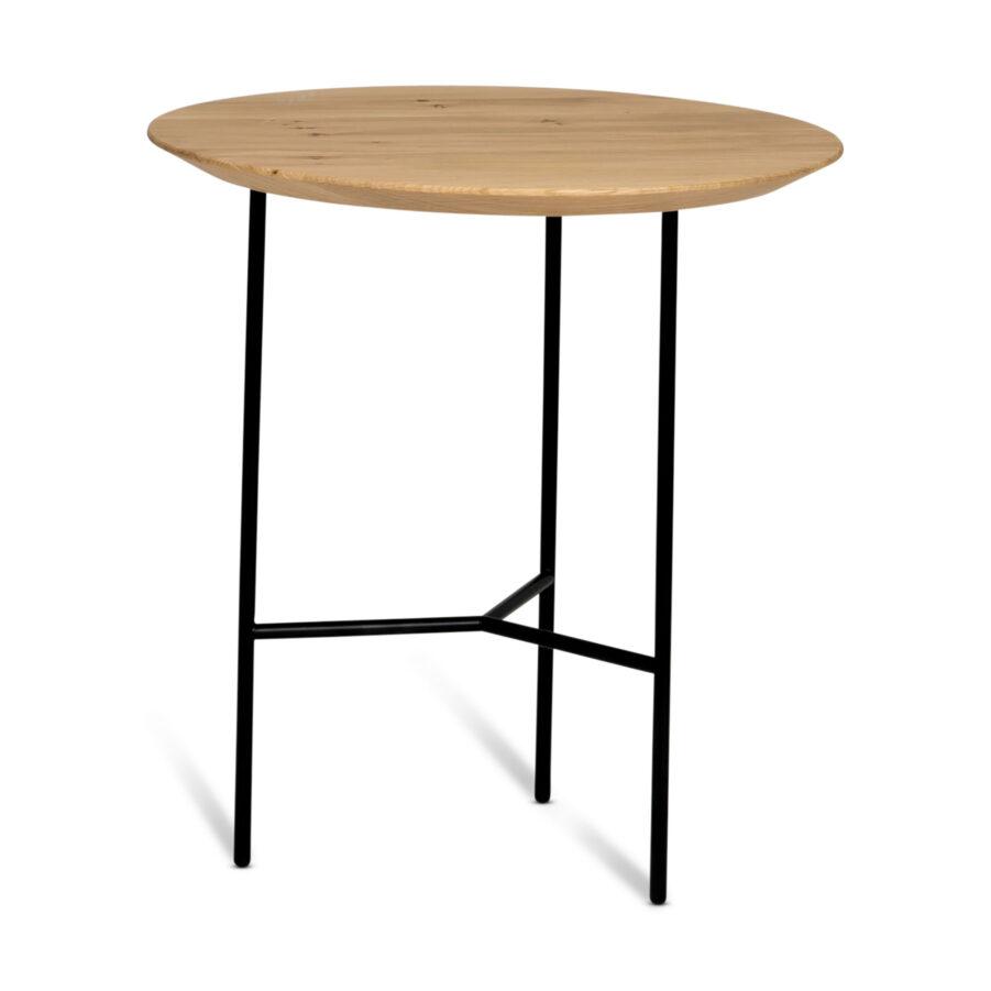 Tribeca sidobord i lackad ljus ek med svart stativ.