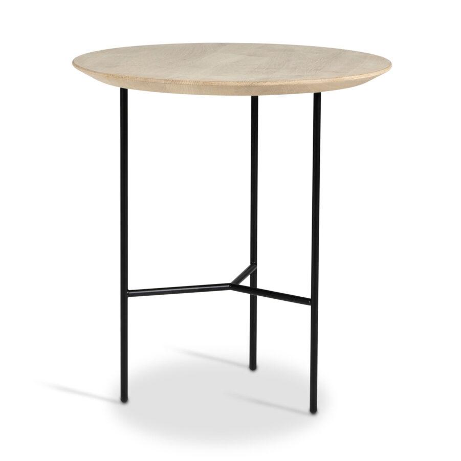 Tribeca sidobord i såpad ek med svart stativ