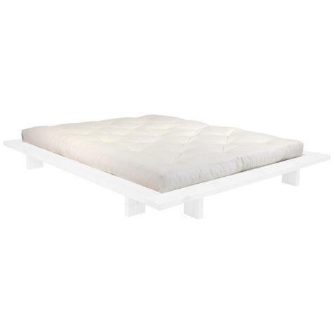 Japan sängram i vitt med vit madrass.