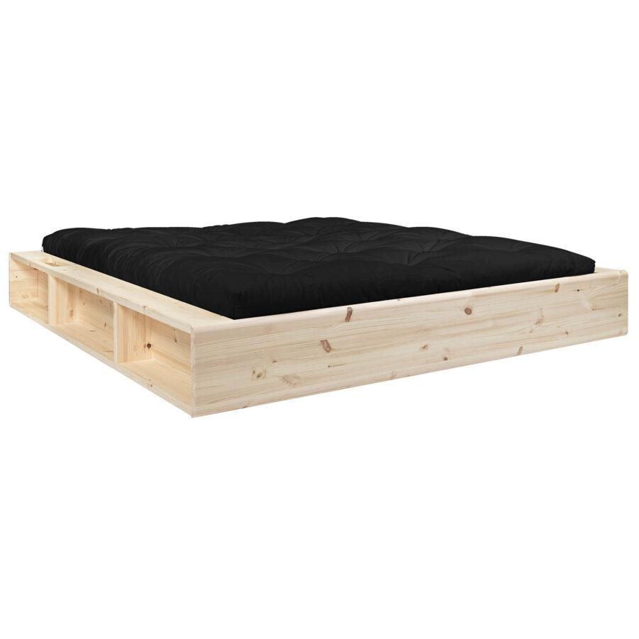 Ziggy sängram i furu med svart madrass.