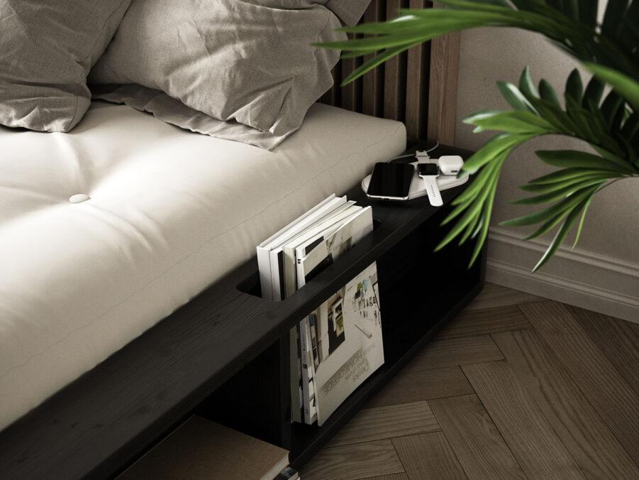 Miljöbild på Ziggy sängram i svart från Karup-Design.