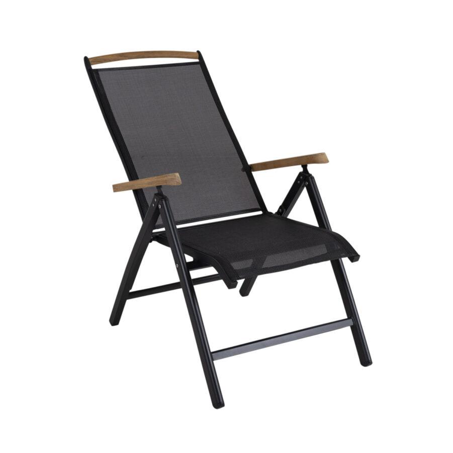 Brafab Andy positionsstol svart/svart med armstöd i teak