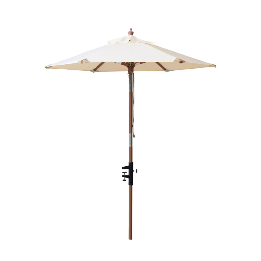 Cinas Balkongparasoll offwhite/teakimitation Ø180 cm