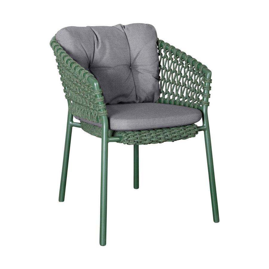 Ocean karmstol i grönt med grå dynor.