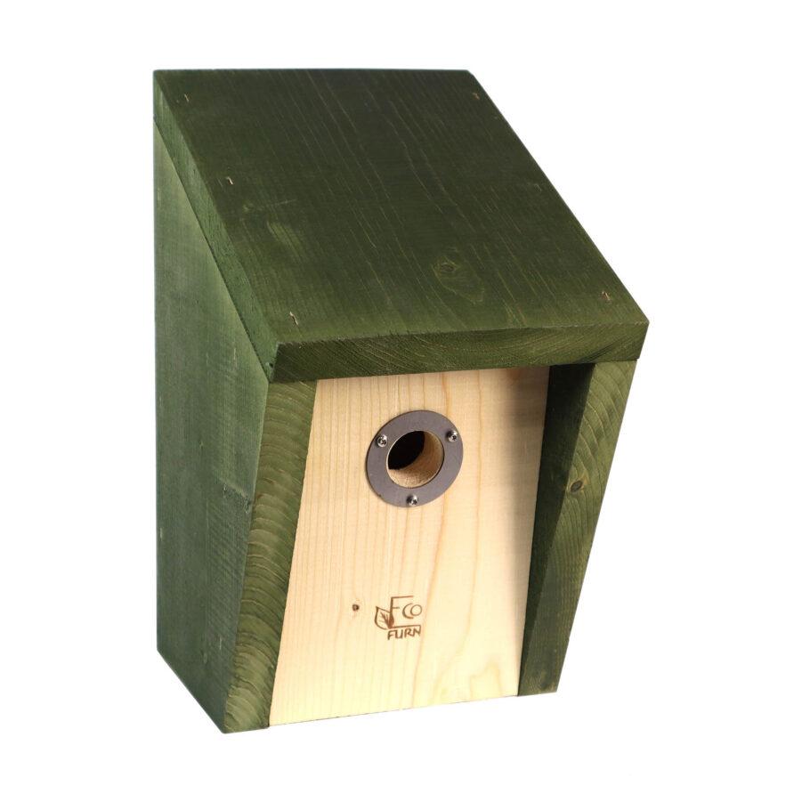 Pönttö fågelholk i grönt.
