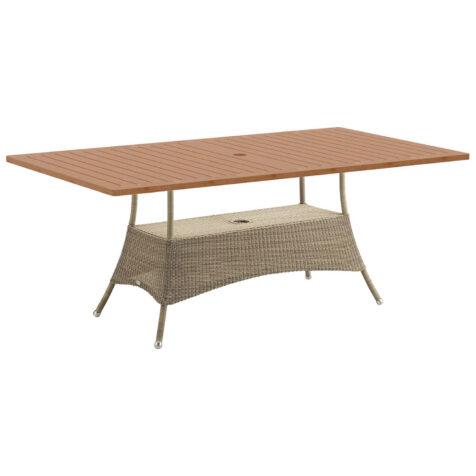 Lansing matbord i färgen taupe med teakskiva.