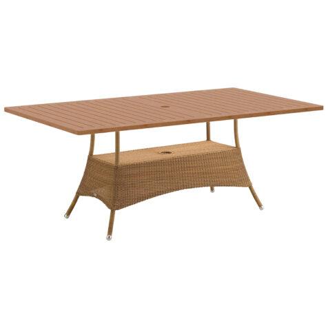 Lansing rektangulärt matbord i konstrotting och teak.