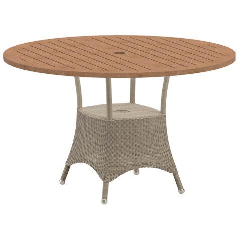 Lansing runt matbord i färgen taupe med teakskiva.