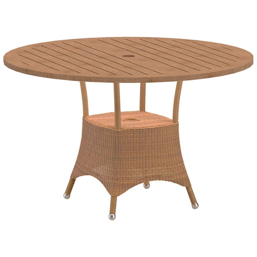 Lansing runt matbord i naturfärgad konstrotting med teakskiva.
