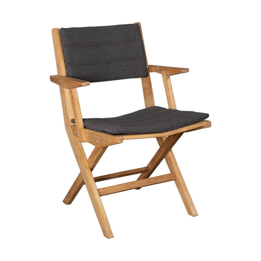 Flip karmstol med ,mörkgrå dyna.