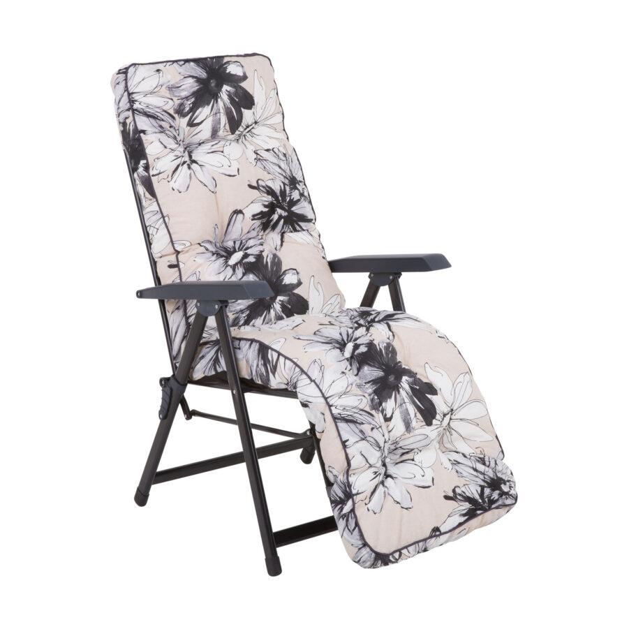 Baden-Baden stol med dyna i blommigt mönster.