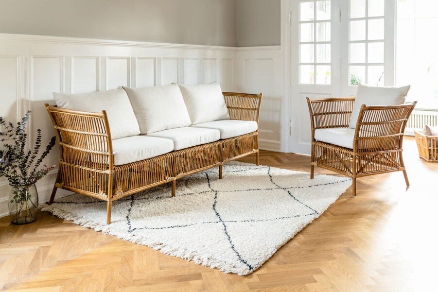 Sika-Design Donatello soffa 3-sits och fåtölj antik inkl. dyna