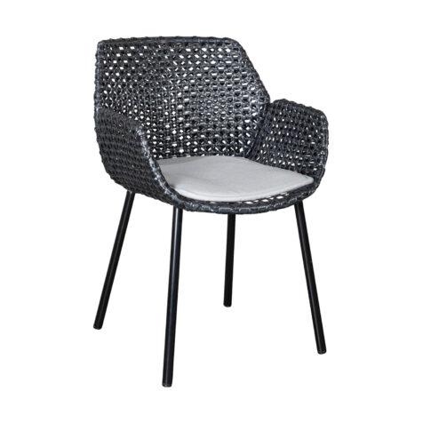 Vibe karmstol i svart med dyna i ljusgrått.