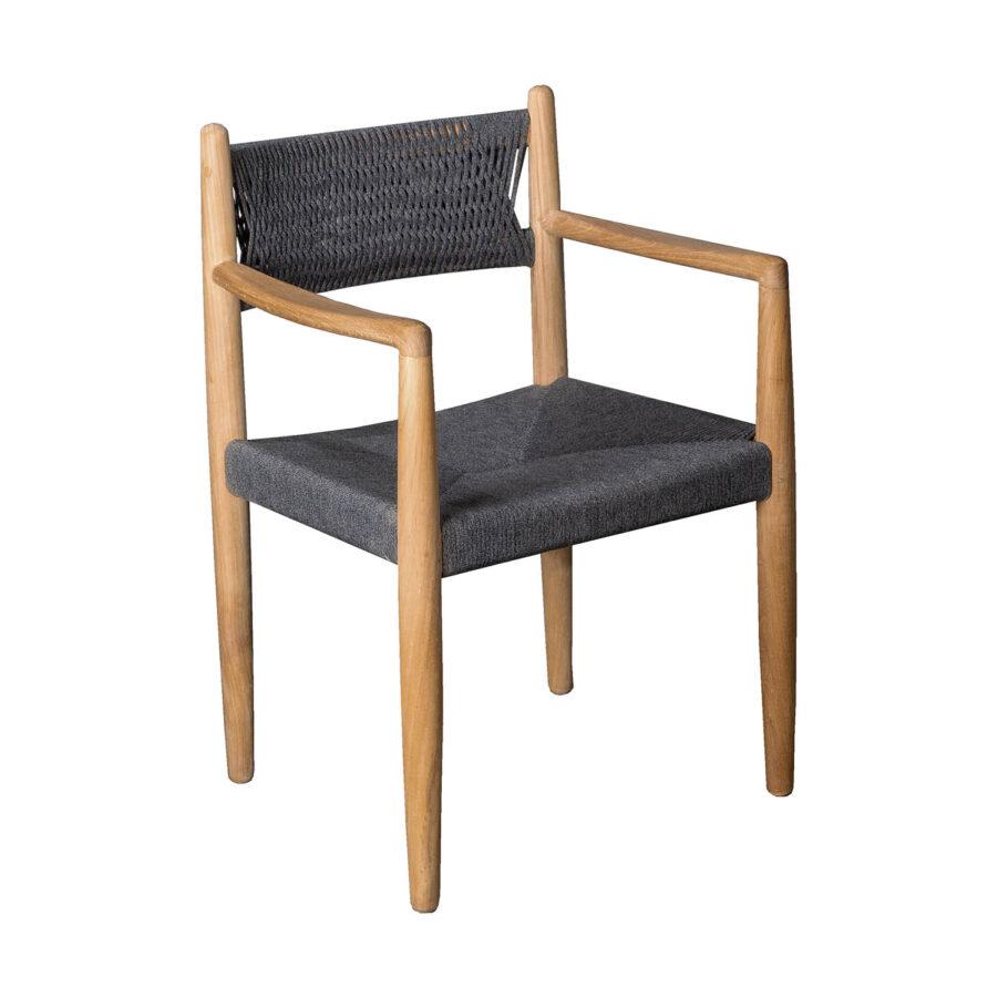 Royal karmstol i teak med softrope sits.