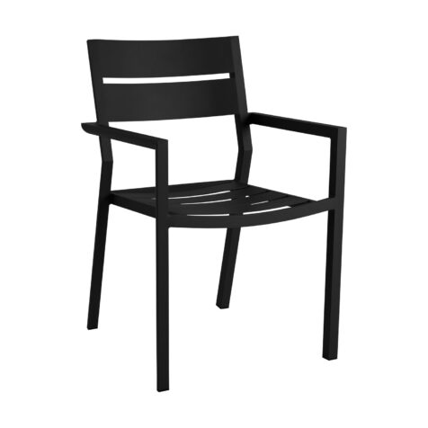 Delia karmstol i svart aluminium.