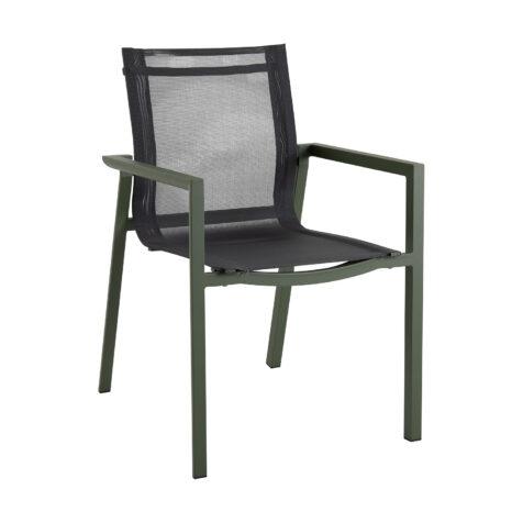 Delia karmstol i grönt med textilenstits.