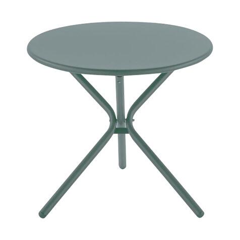 Tris sidobord i färgen sage green.