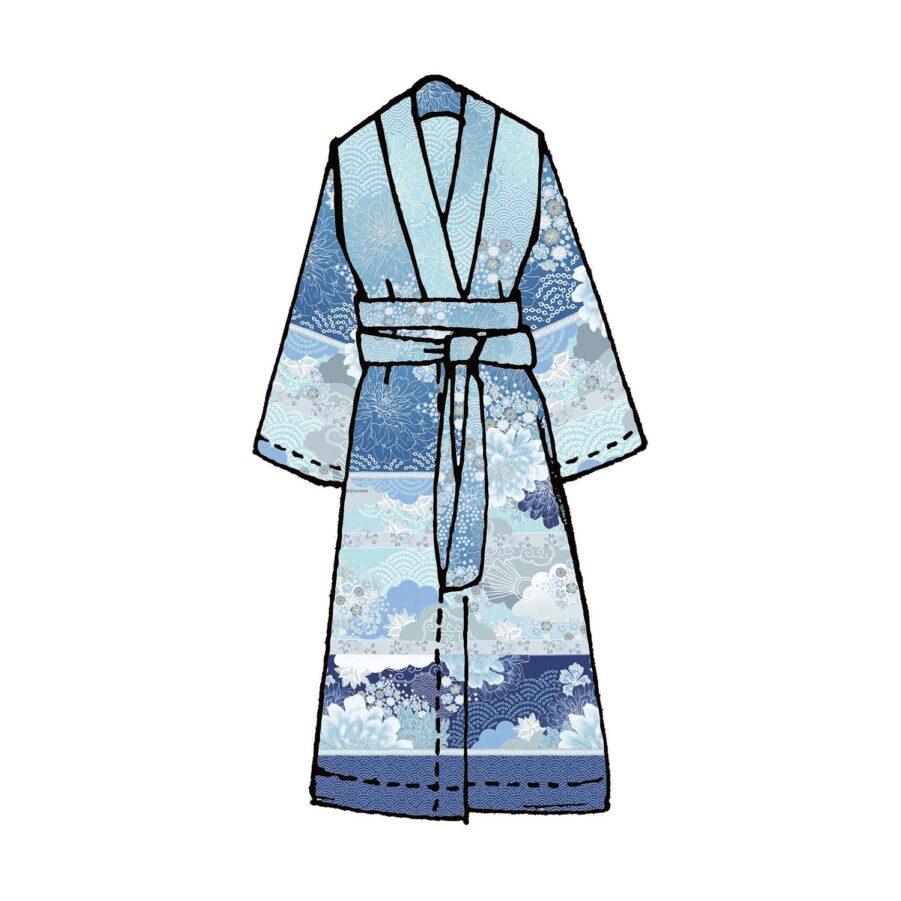 Madama Butterfly Kimono i blått.