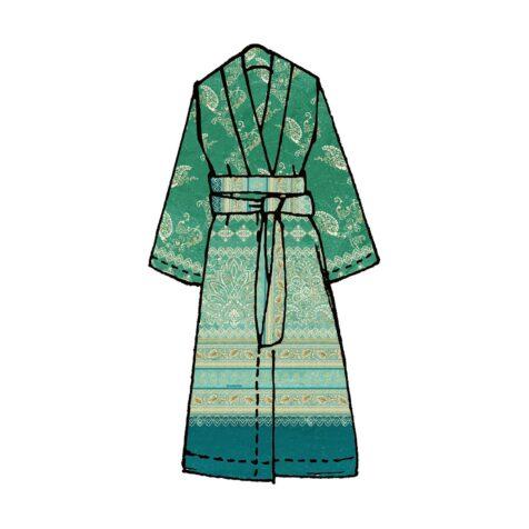 Matera kimono i grönt.