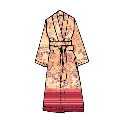 Tosca Kimono i orange och rosa.