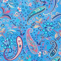 Närbild på Burano mönster i blått.