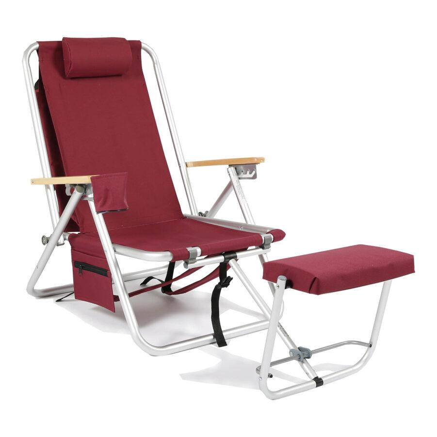 Roxy friluftstol med kylbag i vinrött.