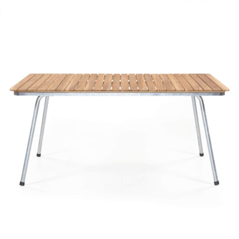 Sigtuna matbord 160x90 cm i teak med galvaniserat stativ.