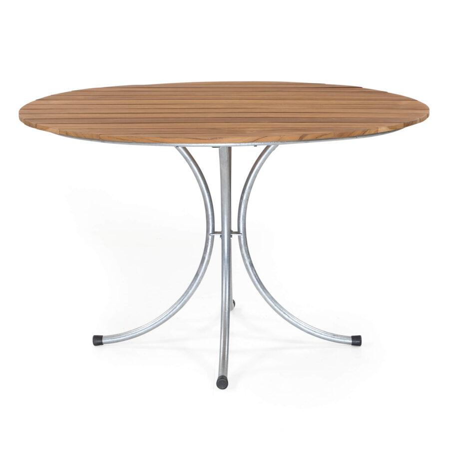 Sigtuna matbord med diametern 120 cm i teak med galvaniserat stativ.