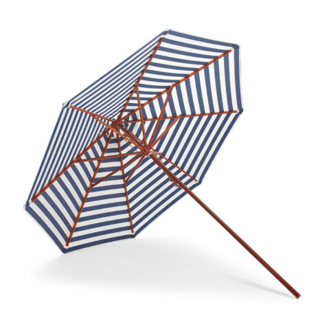 Messina parasoll 270 cm i diameter blårandigt.