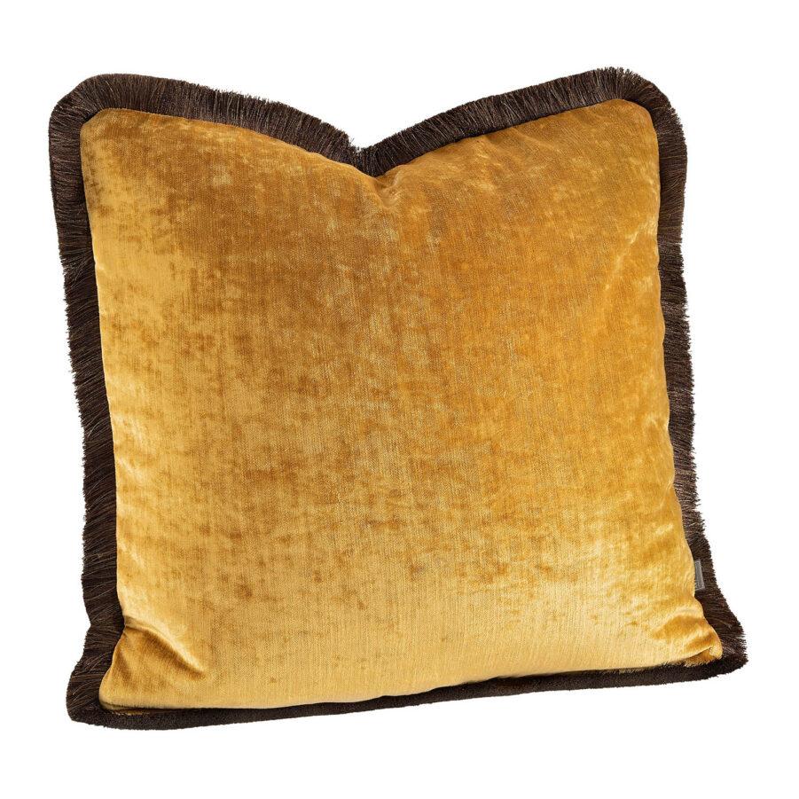 Artwood Garda Velvet kuddfodral med frans cognac